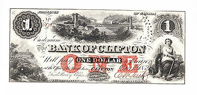 ✪ 1859 One Dollar Bank of Clifton Bank Note - Uncirculated -