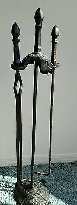 Victorian Arts & Crafts Cahill Iron Works Hammered Fireplace Stand.Two Tools