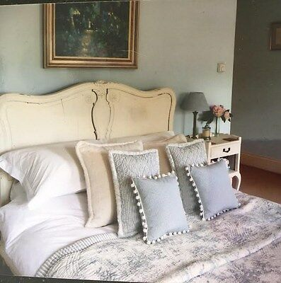 Antique Late 19Th Century French Walnut Cream Louis Xv Double Bed Shabby Chic