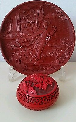 Set:Vintage Carved Lacquer Teller Lackteller+Carved Lack Dose rot Made in China