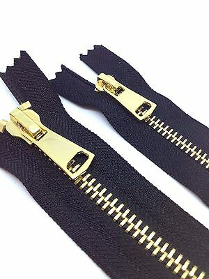 No 8 or No 5 POLISHED GOLD TEETH ZIP/METAL OPEN or CLOSED ENDED BLACK ZIPS