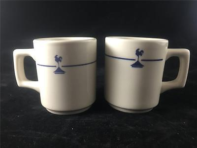 2 Buffalo China Coffee Mugs Rooster design New Old Stock Unused