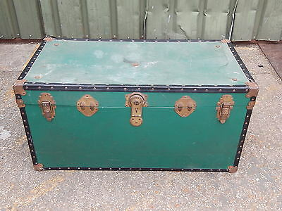 Large vintage travelling trunk chest with side carry handles - steam train ship