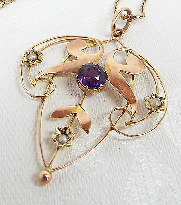 Vintage / 9ct Gold Victorian Amethyst Seed Pearl Lavalier Leaf Pendant Necklace