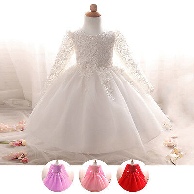 Lace Flower Girl Long Sleeve Dress Baby Baptism Christening Gown Wedding Dresses