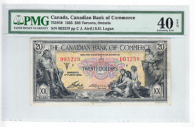 ✪ 1935 $20 Canadian Bank of Commerce Bank Note - EF40 PMG Graded EPQ