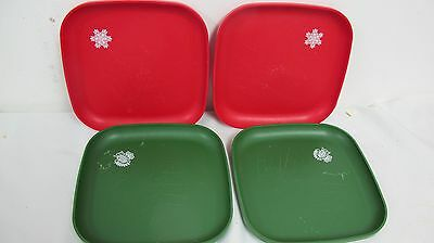 Tupperware Christmas Holiday Red Green Square Plates 4