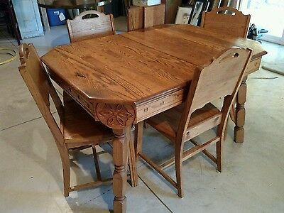 Vtg Solid Oak Dining Kitchen Table 4 Chairs 2 Leaves Decorative Edge Primitive