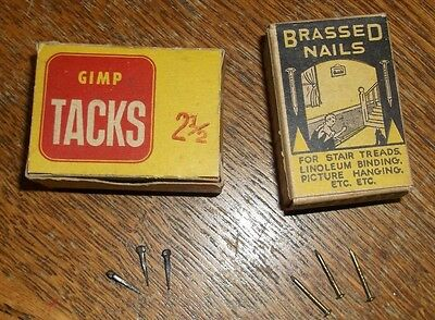 Vintage CF Baker & Co. brassed nails and Tower Brand GIMP TACKS  lot of 2 boxes