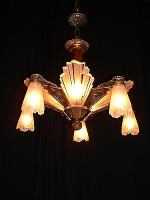 Antique large French bronze Art Deco chandelier w frosted glass inserts – shades