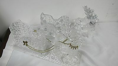 Reindeer Sleigh Sets (2) Acrylic Glass Look Christmas Display Center Piece