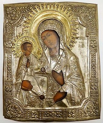 19th C RUSSIAN ORTHODOX ICON KOSTROMA HOLY MOTHER AND CHILD, HAND PAINTED