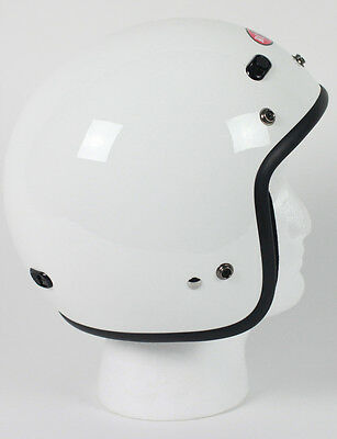 White Open Face Retro 3/4 Motorcycle Helmet DOT Vents Biker Cruiser Bobber S M L