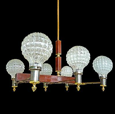 Fabulous Antique French Art Deco Six-Arm Modernist Chandelier Wood / Ice Glass