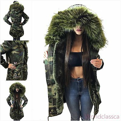 Parka Damen Winter Jacke Camouflage Xxl Kunstfell Patches Kapuze Mantel Blogger