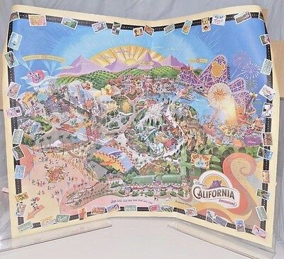 Disney's California Adventure 2001 Grand Opening Rolled Wall Map FREE SHIP