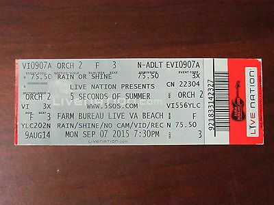 5 Seconds of Summer Concert Ticket Stub September 7, 2015 VA Beach * Untorn *