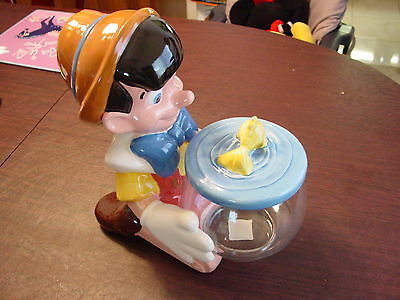 Disney's Pinocchio An Cleo Fish Bowl 3 Pc Cookie Jar Treasure Craft Mint In Box