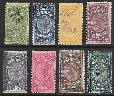 Queensland Duty Stamps  8 Stamps Up To 1 Pound