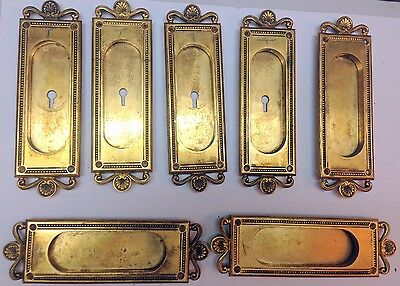 Antique set of  Y&T Yale Towne Door Plates Ornate Solid Brass Hardware Knob Lock
