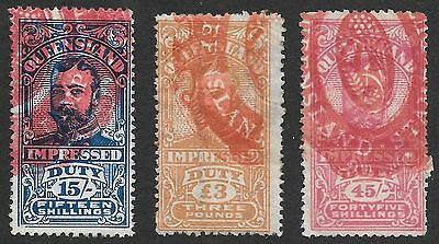 Queensland Duty Stamps  3 Stamps Including 3 Pound & 45 Shillings