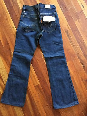 Vintage 1970s 70s 25W Size 14 Slim Deadstock Levis Orange Tag Bellbottom Jeans