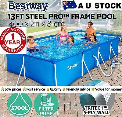 Swimming Pool Filter Pump Bestway Steel Frame Above Ground Rectangular Pools New