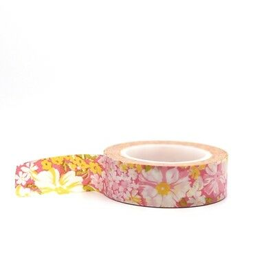 Washi Tape - Pink & Yellow Pretty Floral Flower Masking Tape 15mm x 10m