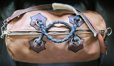 Vtg Thick Leather Duffle Bag Long Strap Brass Snap North & Judd Anchor Hallmark