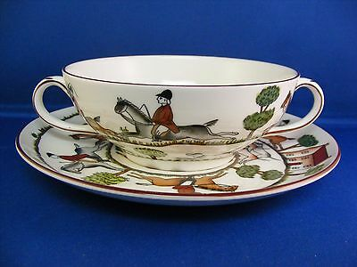 Crown Staffordshire Hunting Scene Cream Soup Cup and Saucer