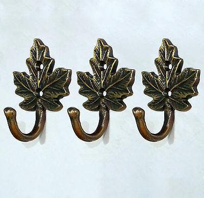 SET OF 3 PCS Vintage Antique BRASS Autumn LEAF HOOK WALL Coat Hat Hanging