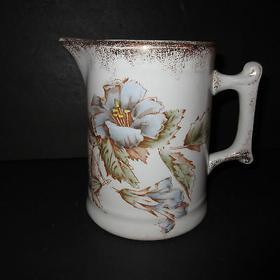Antique 1900 Warwick China 1.5 Qt Water Pitcher Floral Blue Hand Painted Gold