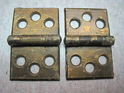 2 Antique Victorian Brass plate Shutter Window Hardware Hinge Vintage Pair 1