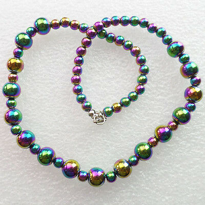 Interesting Plated-color Hematite necklace 17.5 inch B0011122