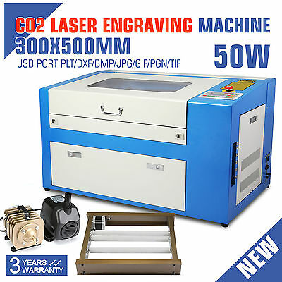 50W Co2 Laser Engraving Cutting Machine Laser Tube High Precise W/Rotary Device
