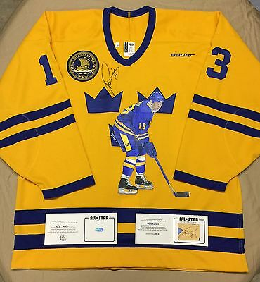 Autographed Licensed Painted Original Art TEAM SWEDEN: MATS SUNDIN Jersey - COA