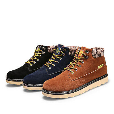 Mens Casual Low Ankle Boots Lace Up Trainer Work Warm Non-slip Skate Shoes