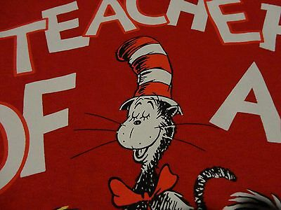 DR Doctor SEUSS Cat In The Hat TEACHER Universal Studios Red T Shirt size Large