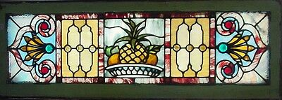 Antique American Stained & Jeweled Pineapple Themed Transom