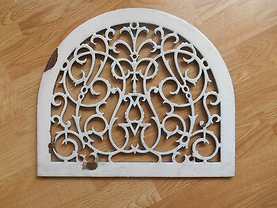 Rare Antique Cast Iron Porcelain Arch Top Heat Grate Register Cover Vtg Ornate