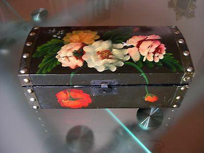 "Vtg Toleware 9 3/4"" Hp Wood Treasure Chest Trinket Jewelry Box Trunk , Lockable"