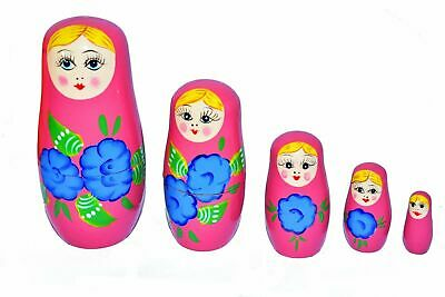 New Set Of 5Pcs Wooden Hand Painted Nesting Matryoshka Dolls Santa Xmas Babushka