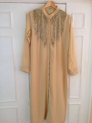 Beige kurta with golden beadwork on georgette to fit size 14