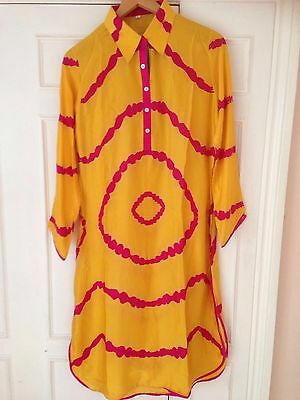 Tie and dye yellow and pink crepe kurta with collar to fit size 12