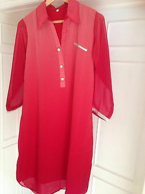 Red colour georgette kurta with buttons to fit size 12/14