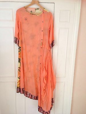 Lond peach embroided with printed back dhoti style on silk cotton (size 12/14)