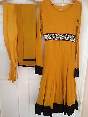 Mustard anarkali with embroidery on waist and with churidhar & dupatta (size 12)
