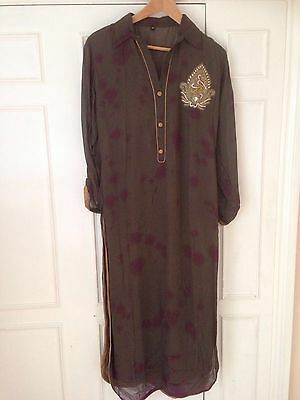 Brown and dark pink tie and dye georgette kurta with golden embroidery (size 12)