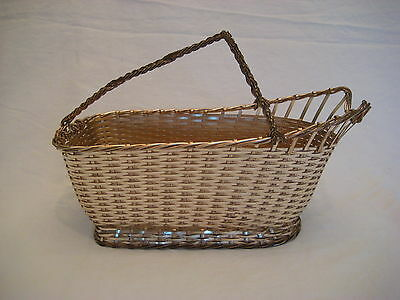 Christofle Vannerie Silver-Plate Woven Wine Basket Caddy Panier a Vin