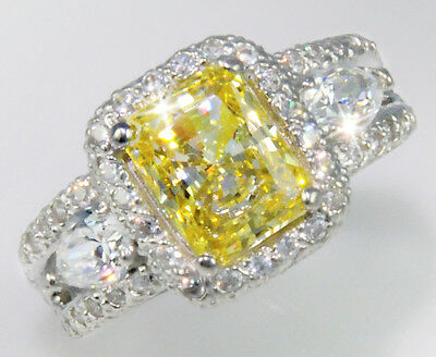 2.5 ct Radiant Canary Ring Top AAAAA CZ Imitation Moissanite Simulant SS Size 6